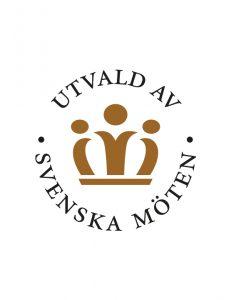 Logga med en krona och texten utvald av svenska möten