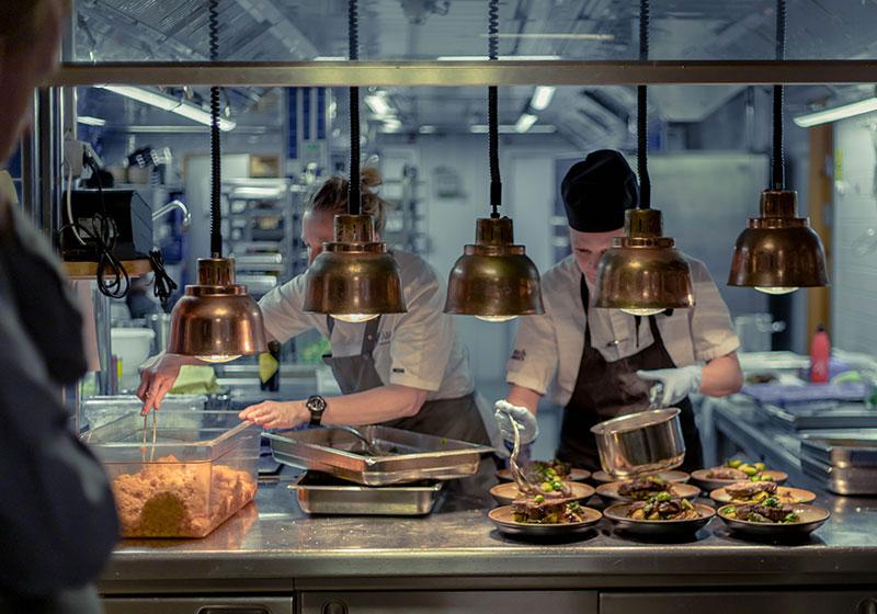 upplägg i restaurangen kök