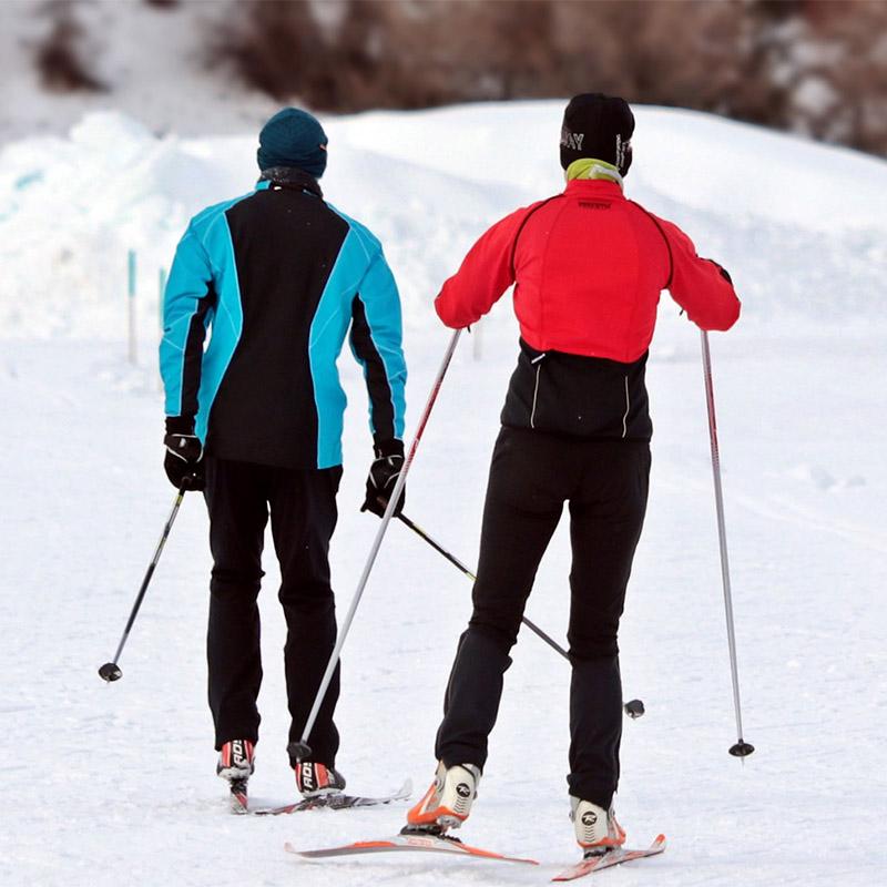 Par som åker längdskidor