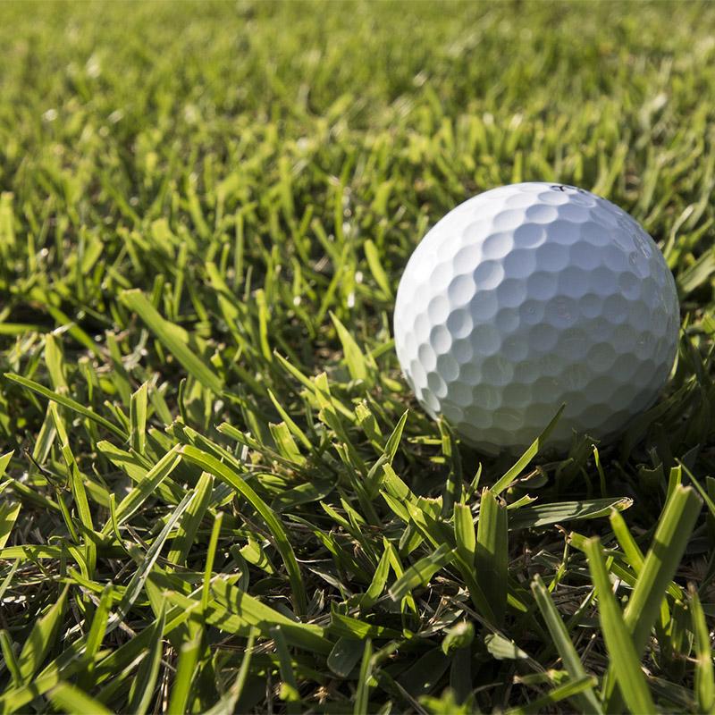 golfboll på gräsmatta