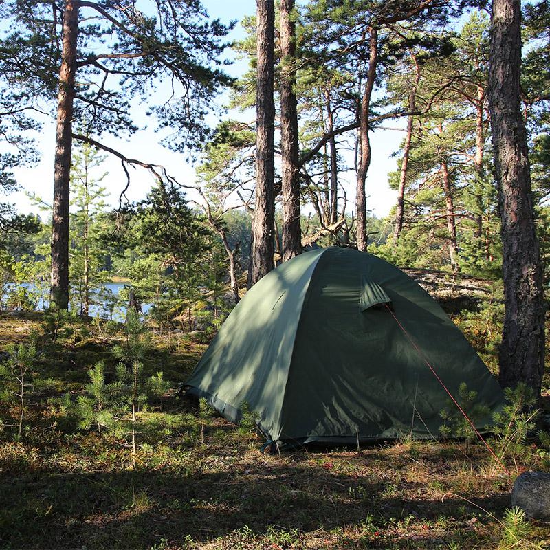 grönt tvåmanstält i svensk skog