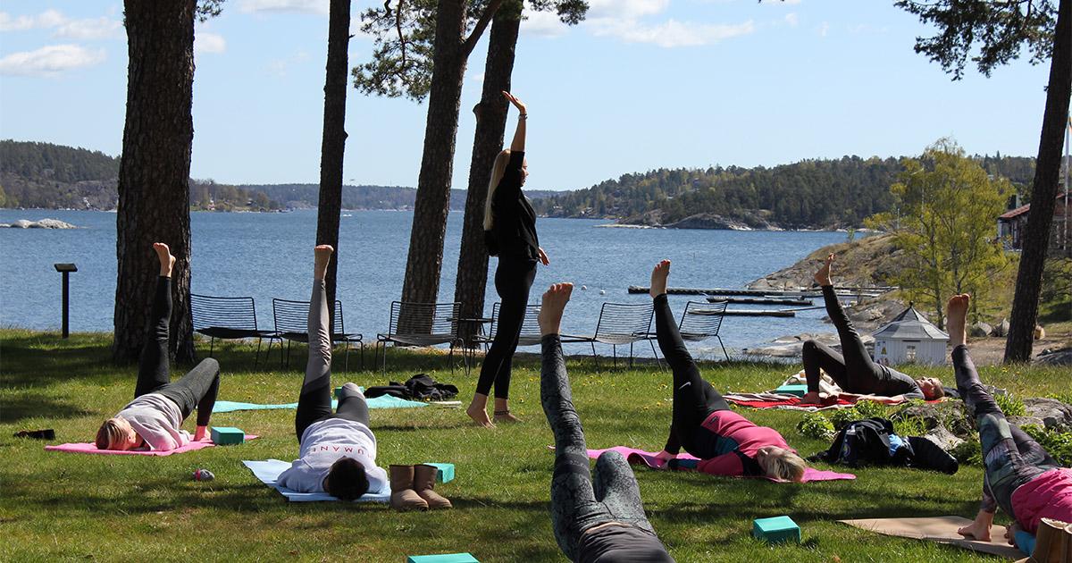 Grupp som tränar yoga på gräsmatta vid havet