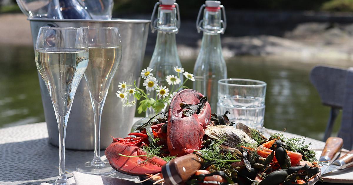 skaldjur och champagne